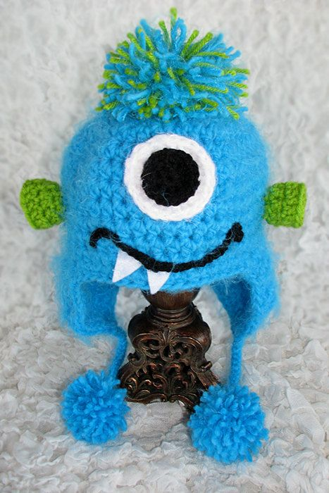 Toddler Child Monster Hat Crocheted Unique By