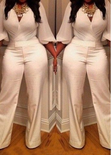 V Neck Lantern Sleeve White Jumpsuit on sale only US$25.46 now ...