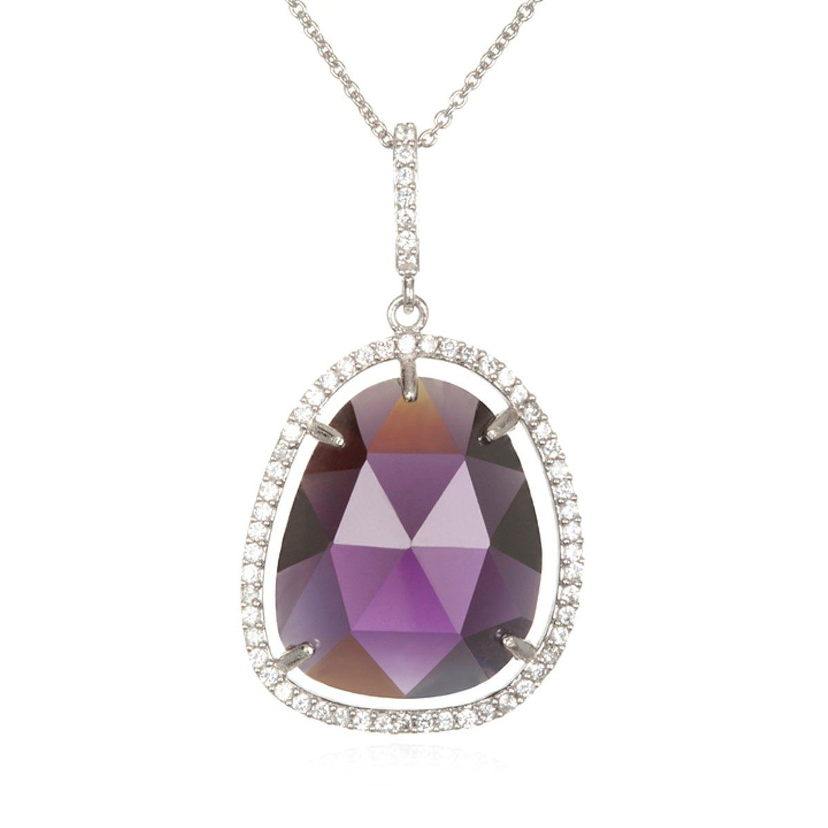 """Rhodium Plate Silver Asymmetrical Shape Pendant with Purple Cz-18"""". Free Super Saver Shipping On All U.S Orders!. Top Rated Seller - 100% Satisfaction Guarantee - Fast Shipping - Easy Returns. Cheline has Been Designing Jewelry for 25 Years. Ships in a Gift Box with Its Own Pretty Jewelry Pouch. Mark .925 Sterling Silver."""