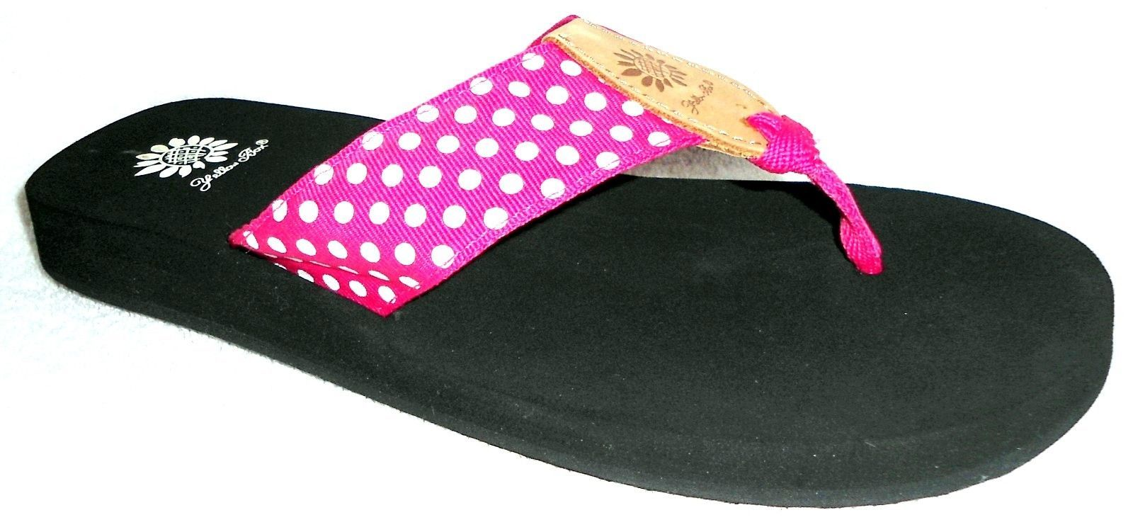 ef1a06af0 NEW YELLOW BOX PINK WHITE POLKA DOT FABRIC FLIP FLOPS SANDALS 8 M ...