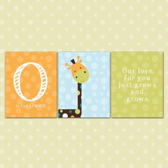 Nursery Wall Art Baby Giraffe and Polka Dots by InvitingMoments ...