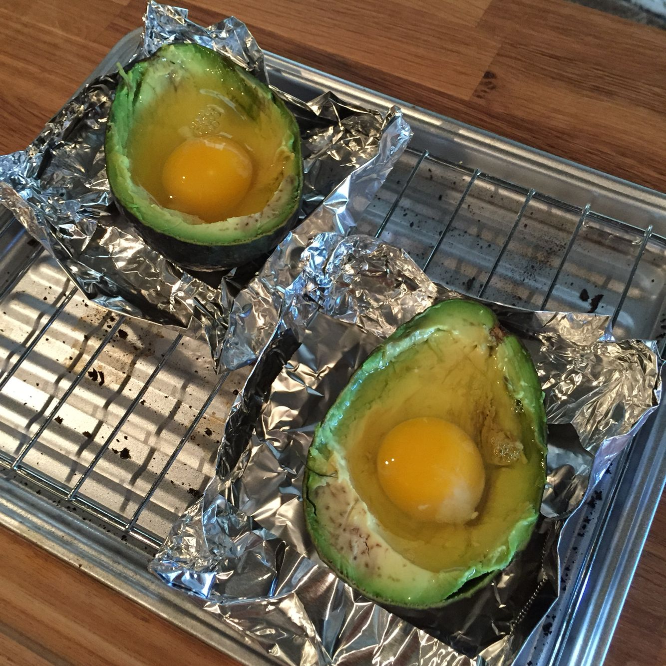 Baked Avocado in process