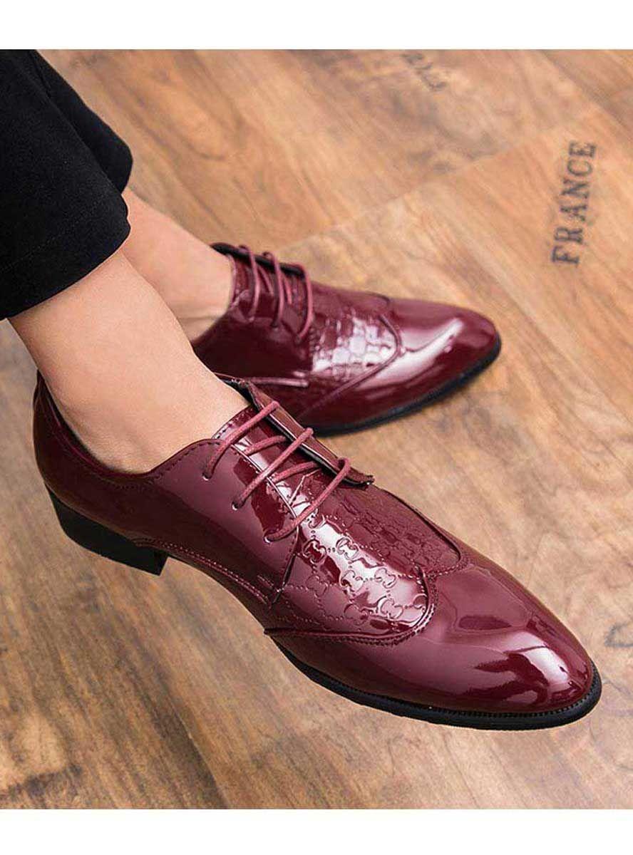 Men's #red leather derby #DressShoes shape pattern design.