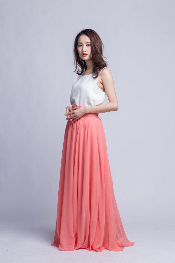 096a612000 Chiffon Maxi Skirt High Waist Long Skirt Beautiful Pleated Waist ...