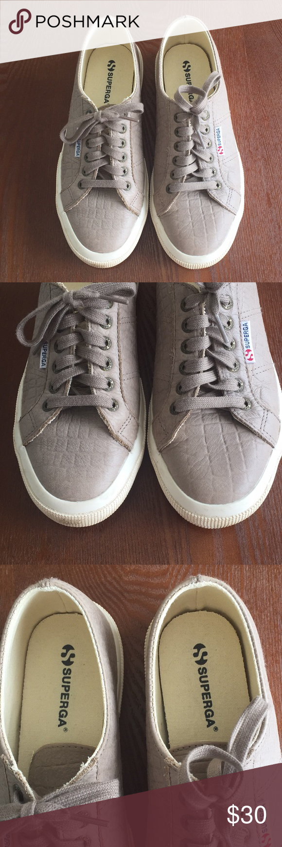 Superga 40 leather sneakers taupe