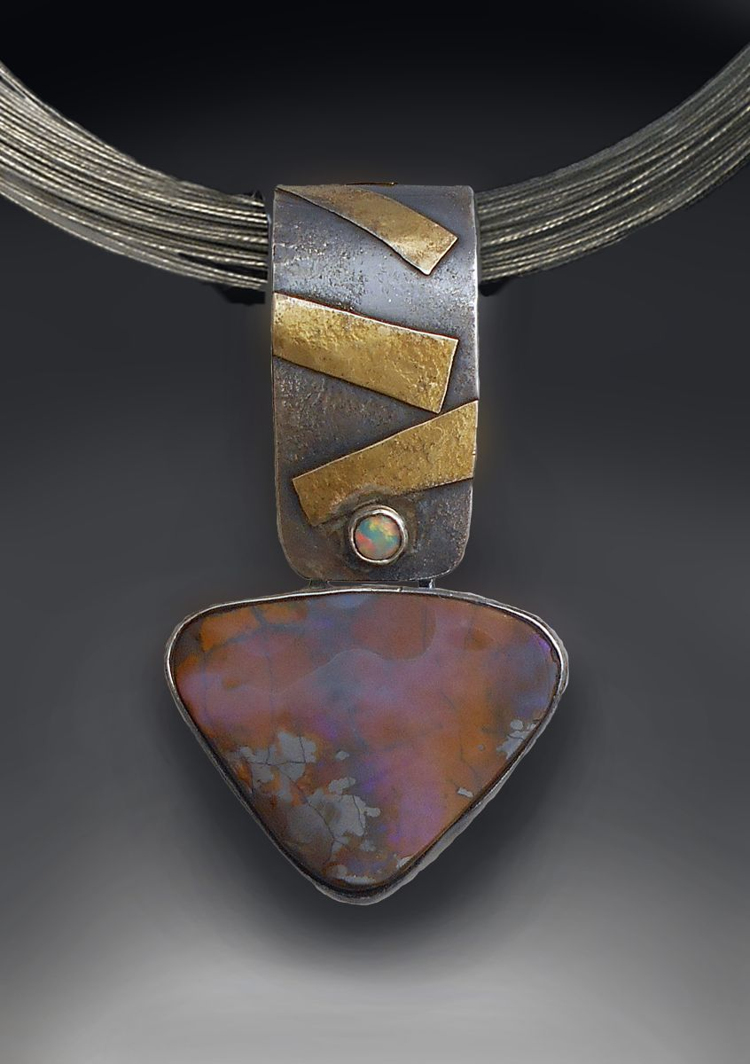 23d0f282b51b Patricia McCleery Boulder opal slider Boulder opal in pinks and blues with  silver and gold accents