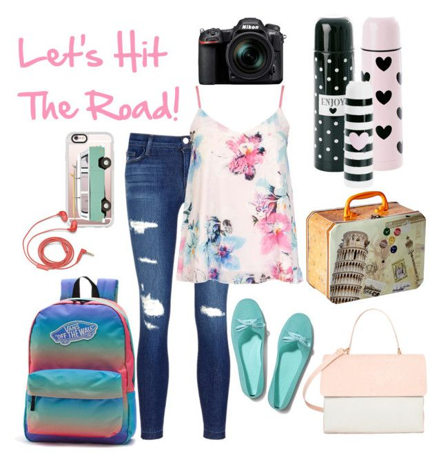 """Hit The Road"" by wretchedanddivine-andy ❤ liked on Polyvore featuring Nikon, J Brand, Vans, Casetify, FOSSIL, Dorothy Perkins, Keds, Eddie and roadtrip"