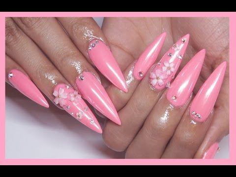 Sakura Neon Pink Acrylic + Gel Nails Design - Sakura Neon Pink Acrylic + Gel Nails Design Items Review