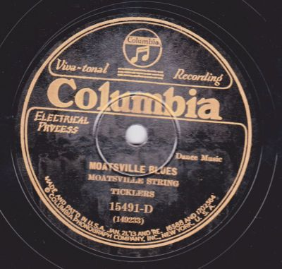 moatsville west virginia | 78 RPM Moatsville String Ticklers COLUMBIA 15491 Moatsville Blues OLD ...