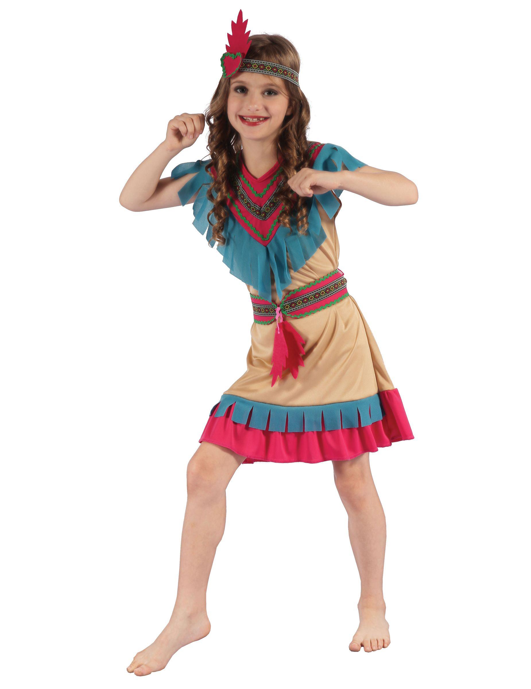 b9fc229db8b8 Questo costume da indiano colorato per bambina : Questo costume da indiana  per bambina comprende un vestito, una cintura e una bandana.