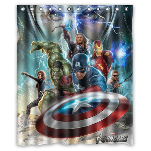 Marvel Comics The Avengers Super Heroes Waterproof Shower Curtains 66 X72 Cn01 Superhero Wall Marvel Avengers Bedroom