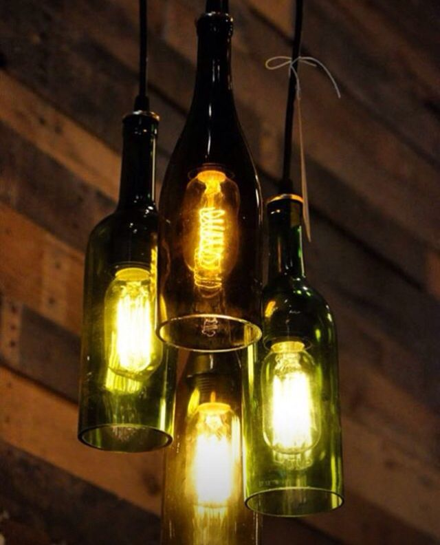 Old bottles become a sweet chandelier. #upcycled #recycled #eco #green #sallybs