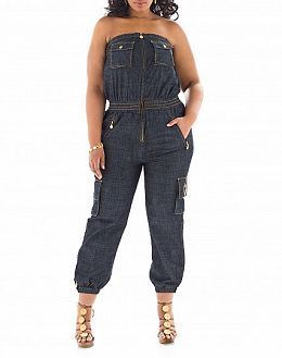 dc431a082 Baby Phat Plus Size Denim Jumpsuit Strapess  UNIQUE WOMENS FASHION ...