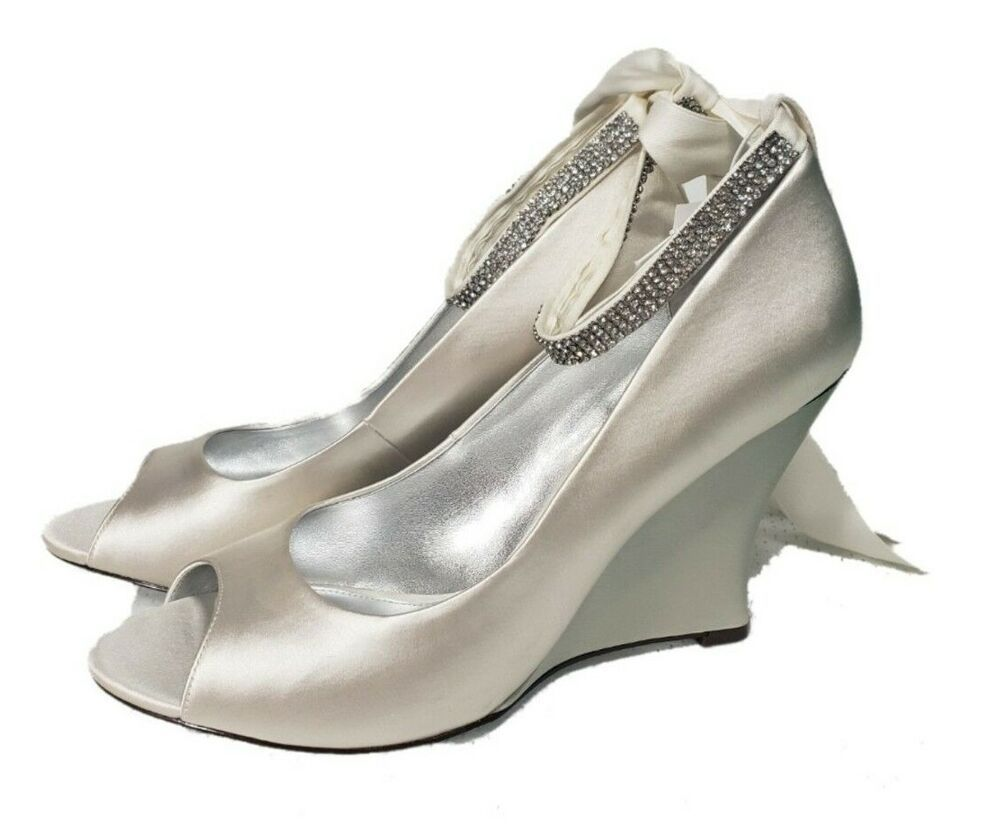 ccdd3bc6b39 Nina New York Candlelight off White Satin Wedges Size 10 rhinestone ankle  straps  Nina  wedges  Wedding