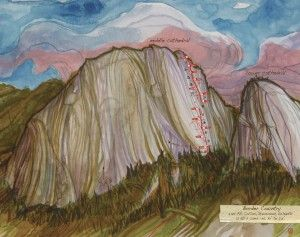 A painting by Jeremy Collins describing a climbing route up Middle Cathedral Rock in Yosemite.