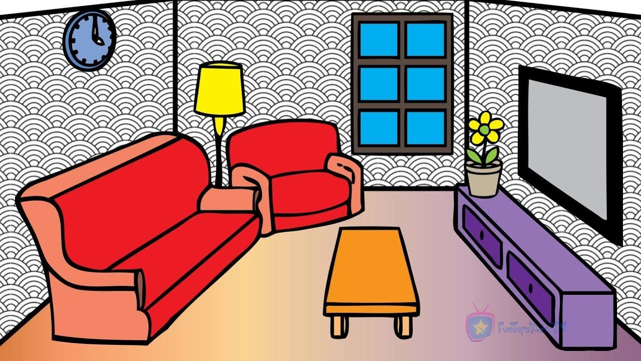 How To Draw Livingroom Coloring Pages For Kids Learn Colors With