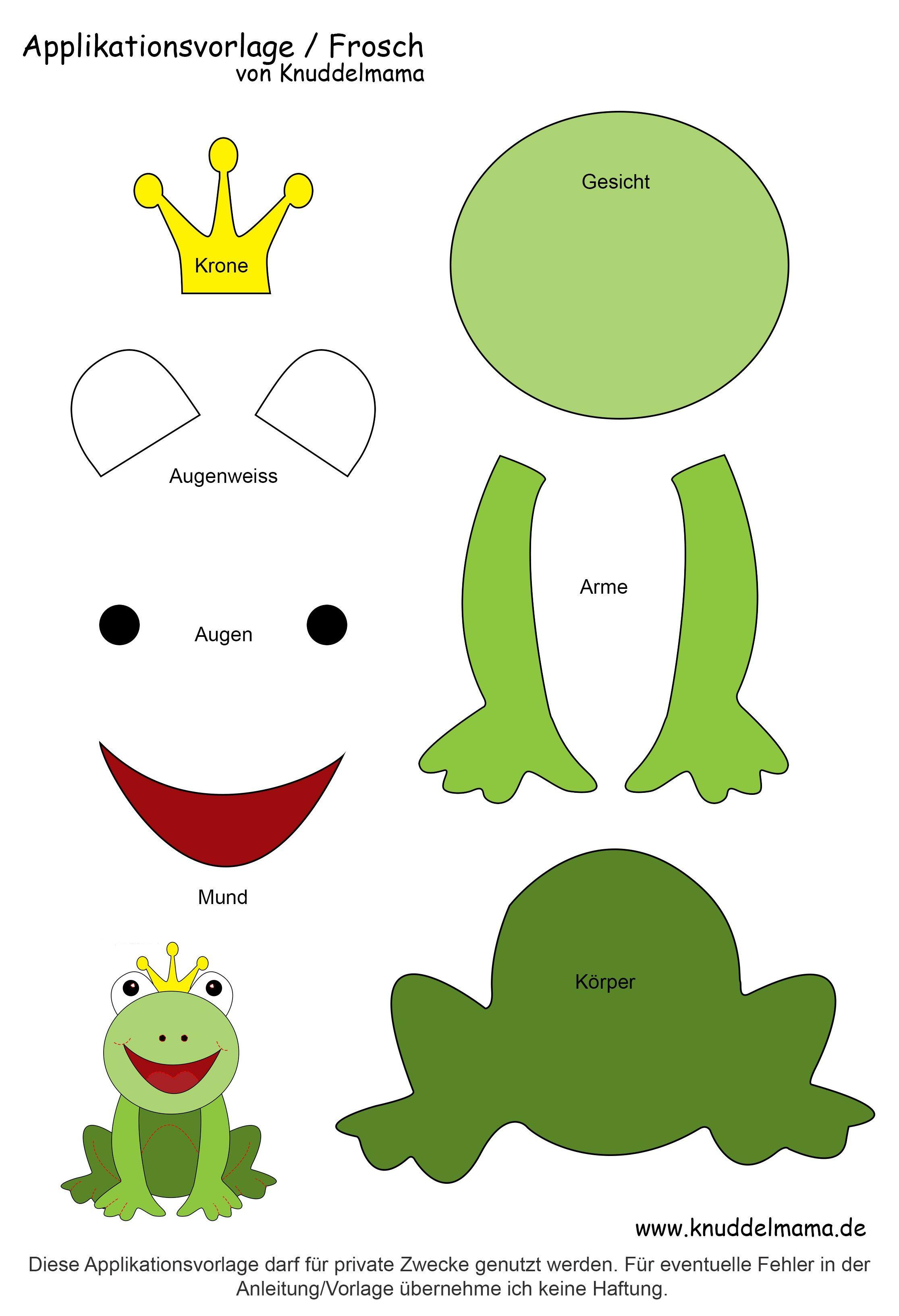 Froschvorlage Applikation Vorlagen Frosch Basteln Applikationsvorlagen