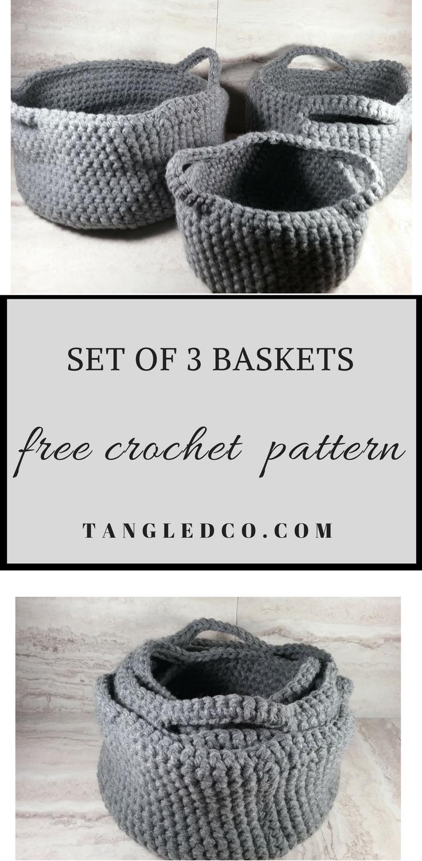 crochet basket set   Knit and Crochet   Pinterest   Cesto, Ganchillo ...