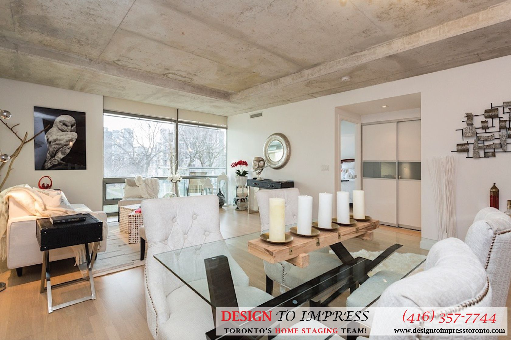 open concept of downtown toronto condo staged to sell for a high