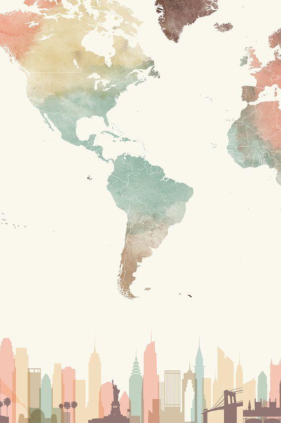 World Map World Map Poster Travel Map Skyline Wall Art World Map Print Watercolor Large World Map Travel Gift Artprintsvicky Watercolor Wallpaper World Map Art World Map Wallpaper