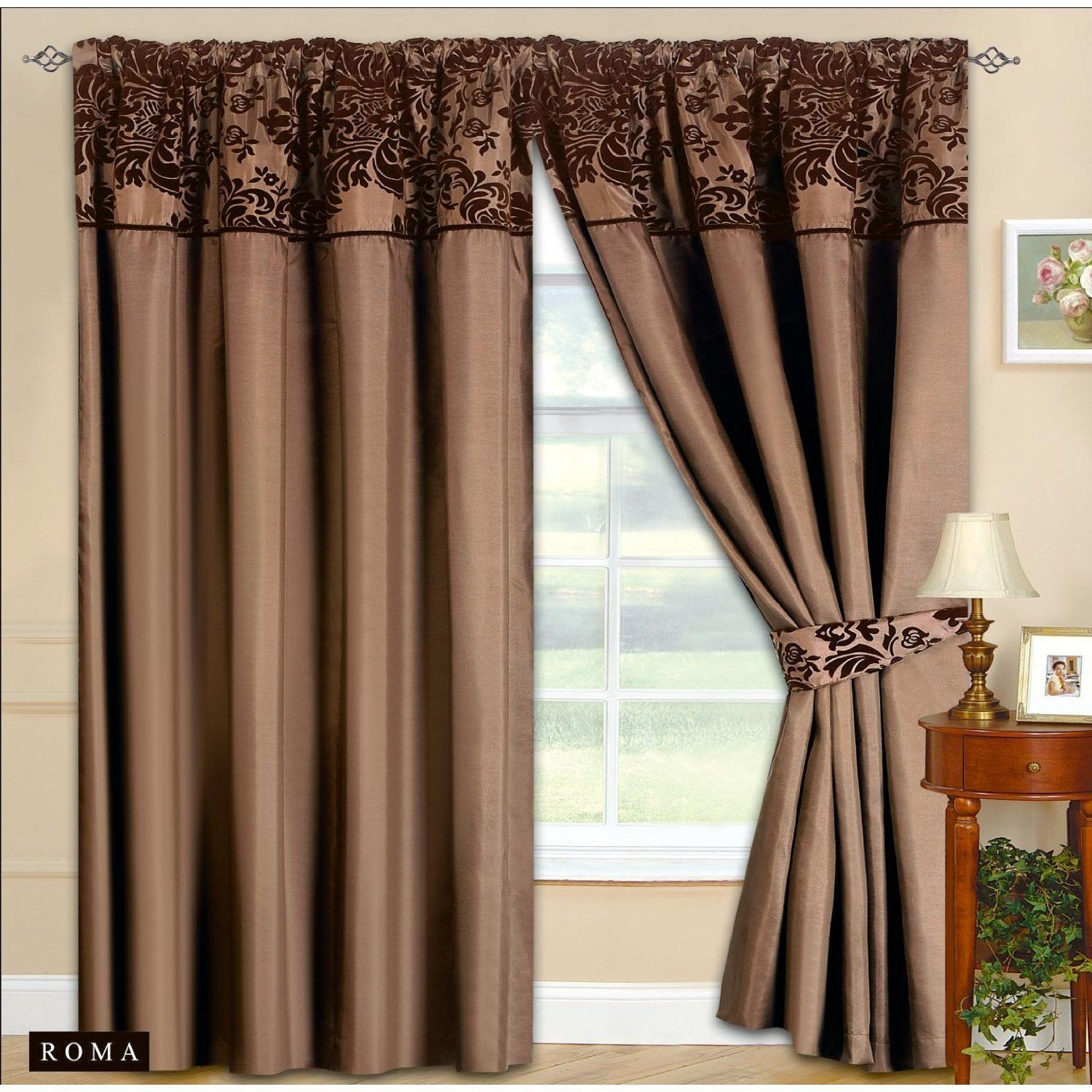 90 X90 Half Flock Pencil Pleat Luxurious Pair Of Curtains With Matching Tie Backs Brown Cho Brown Living Room Curtains Living Room Brown Furniture Living Room