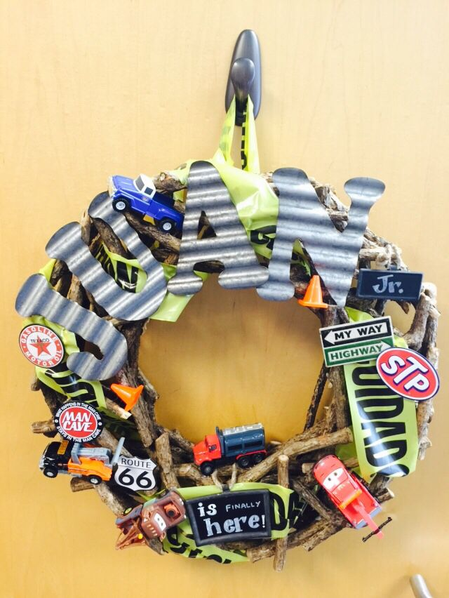 Tow truck Wreath for Miriam\'s baby shower. The hardest part is to ...