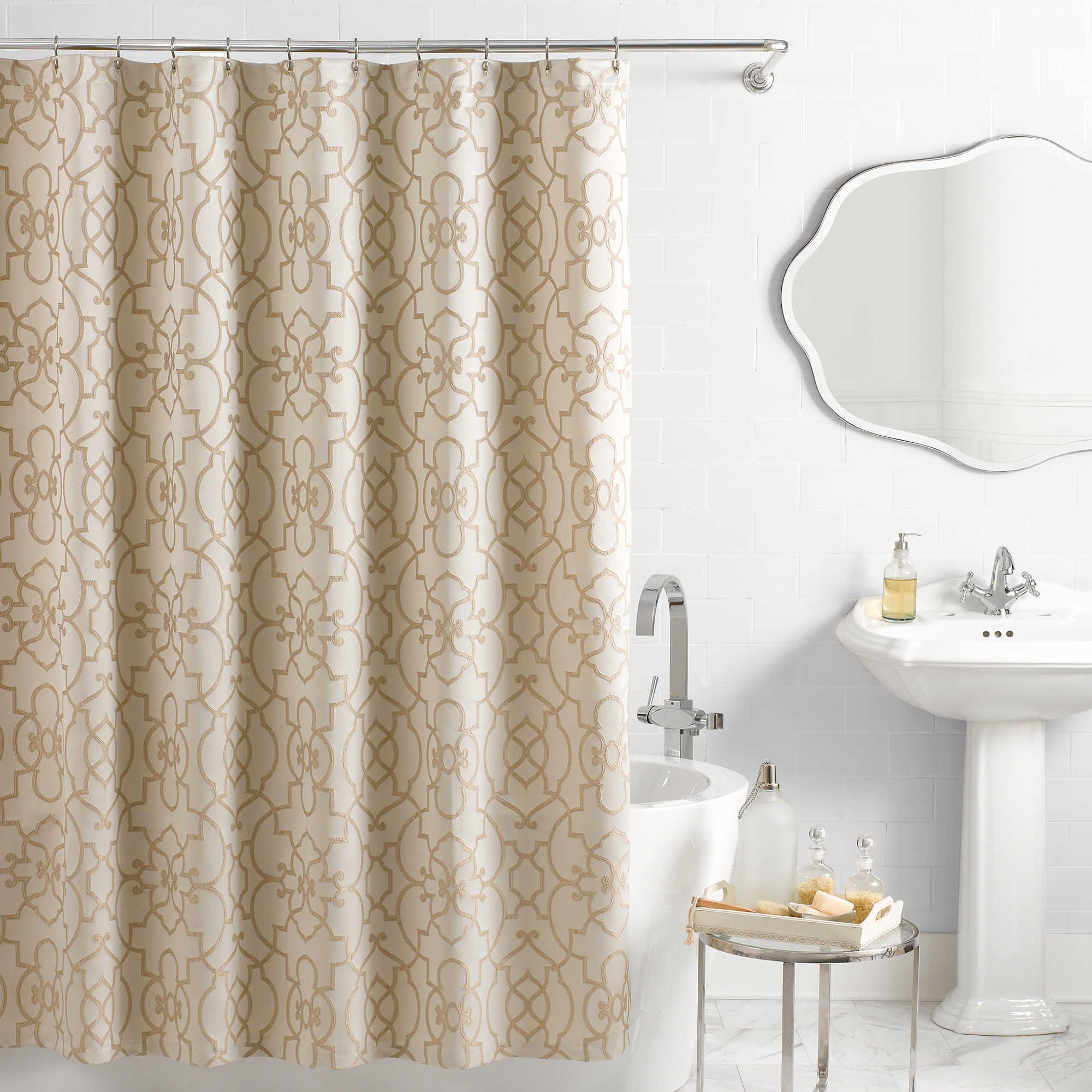 Vue Reg Signature Iron Gates Jacquard Shower Curtain In Ivory Tan