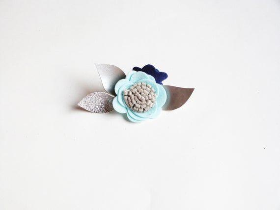 Silver, Blue Single Felt Flower headband - Baby Girl felt Headband, flower clip, Single felt flower headband or alligator clip, hair clip, #feltflowerheadbands