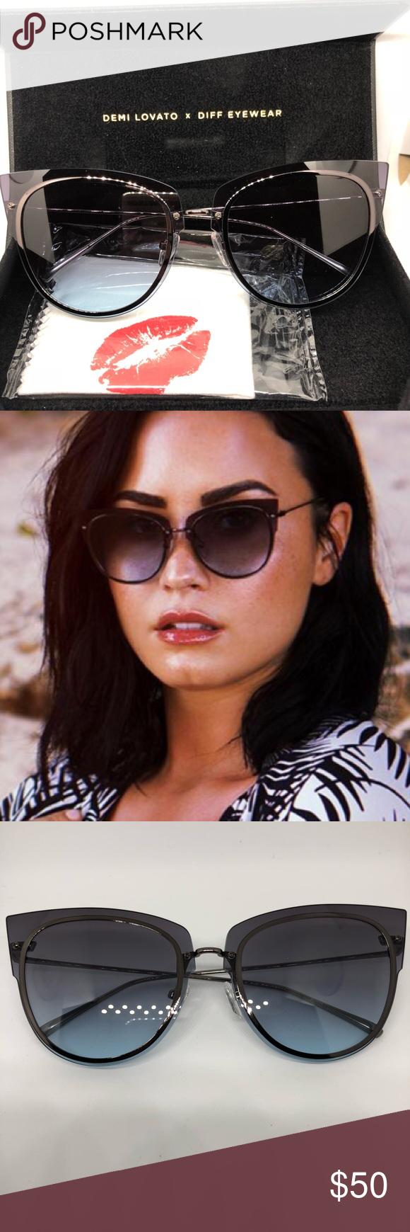 5f7710c05d Demi Lovato x Diff Eyewear gunmetal grey blue lens NWT