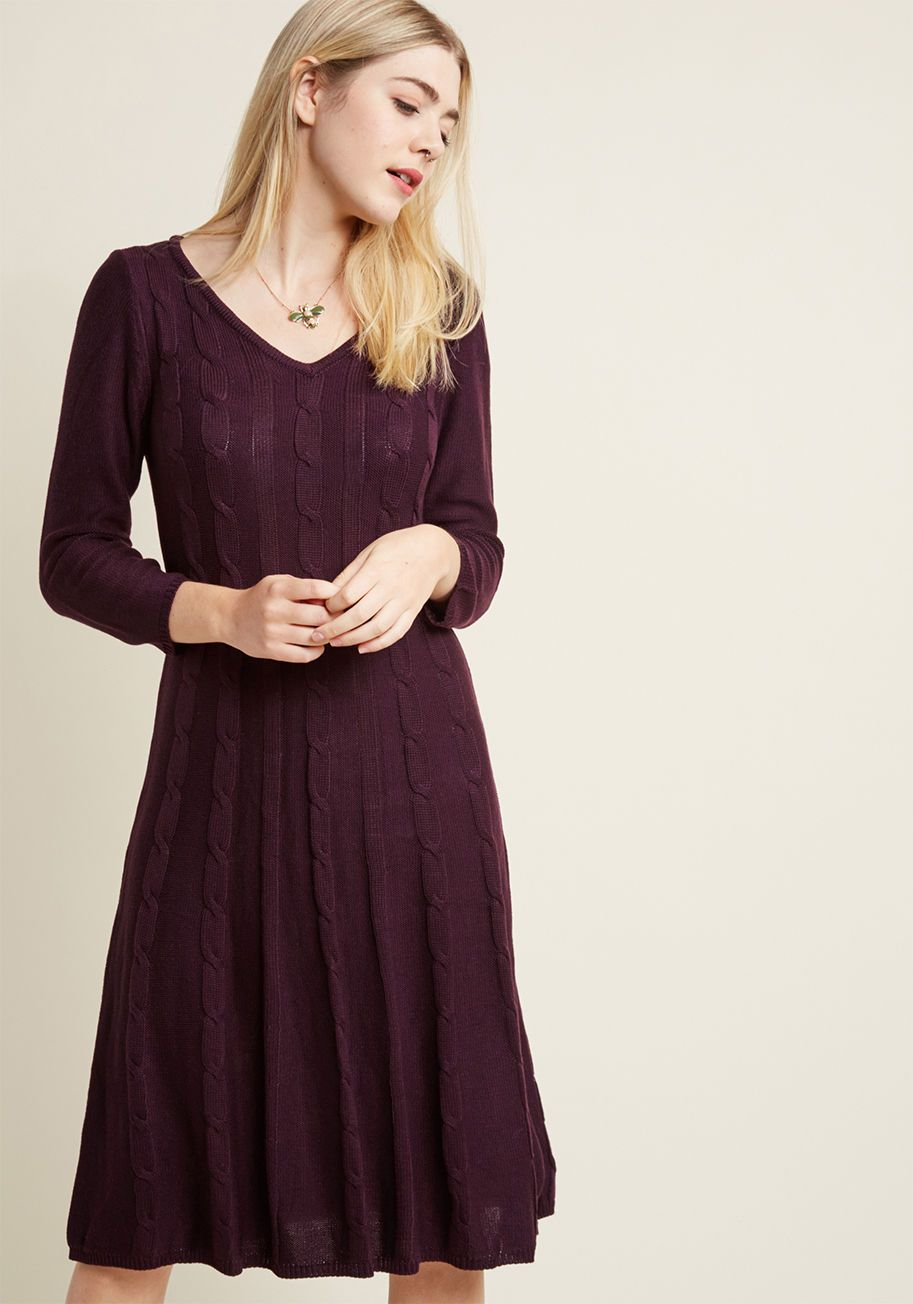 p By pairing up your sweet personality with the cozy allure of this dark  purple sweater dress b5743a8a2