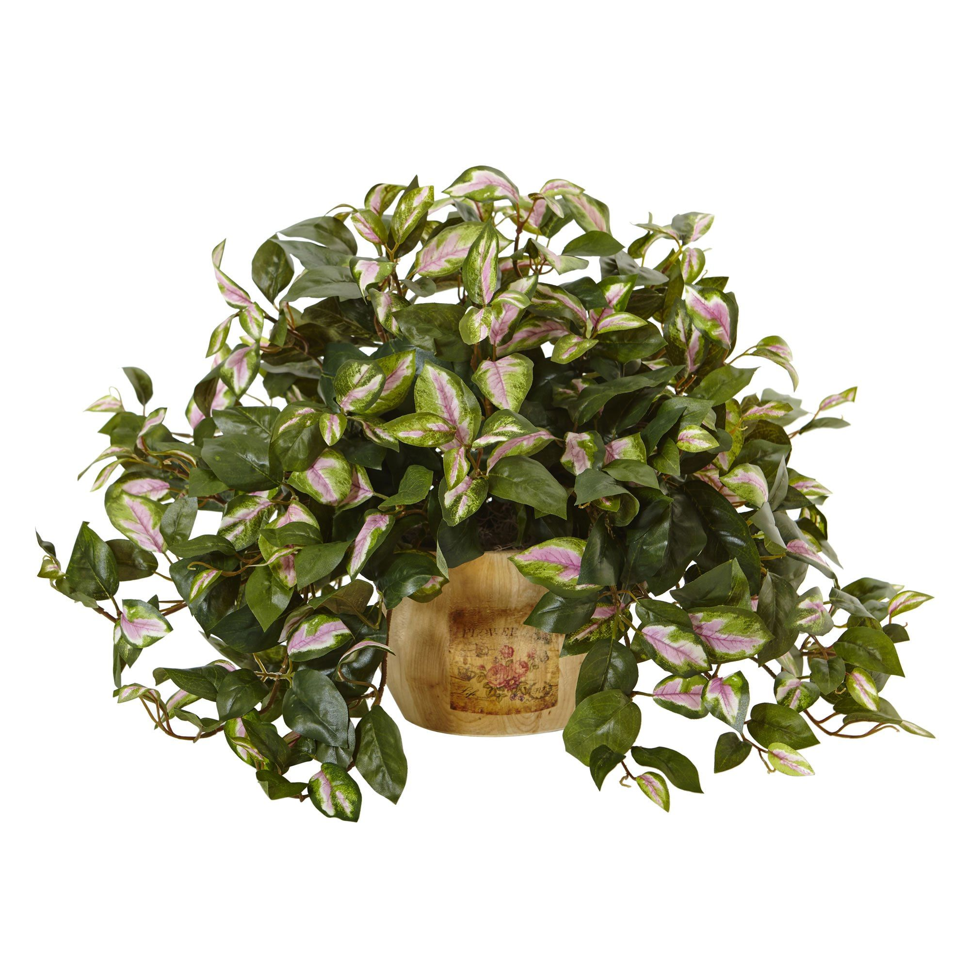 "21"" W Faux Hoya in Wooden Pot Artificial plants, Plants"
