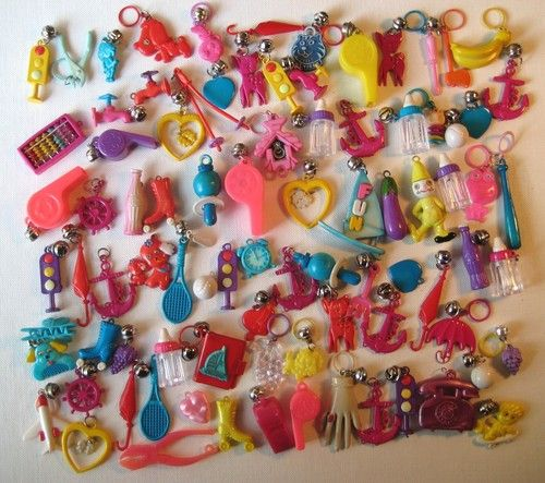 VTG 80/'s Red Twin Girls Kids Plastic Clip On Charm with Bell For Charms Necklace