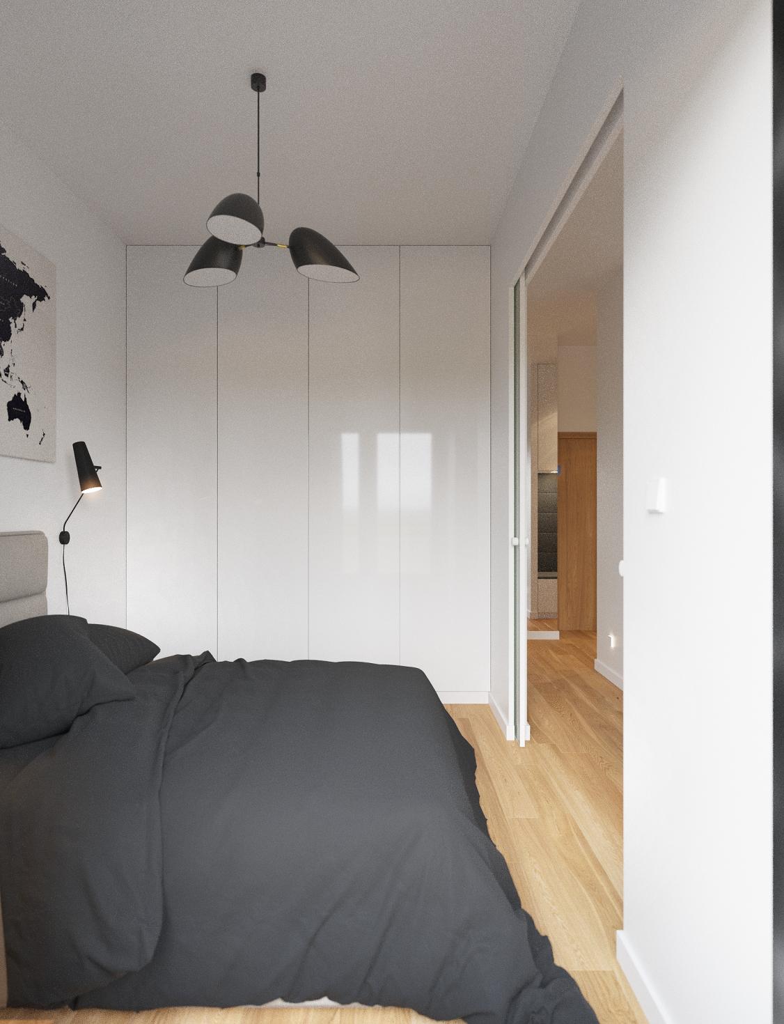 Schlafzimmer Einrichten Skandinavisch Modern Minimalistisch Schlicht  Reduziert Monochrom Weiß Schwarz Grau Einbauschrank Stauraum Kleiderschrank  Hochglanz ...