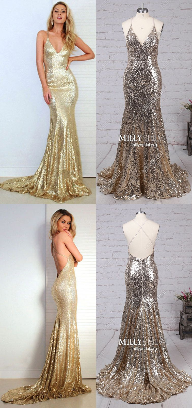 Long prom dresses sparklygold prom dresses mermaidmodest prom