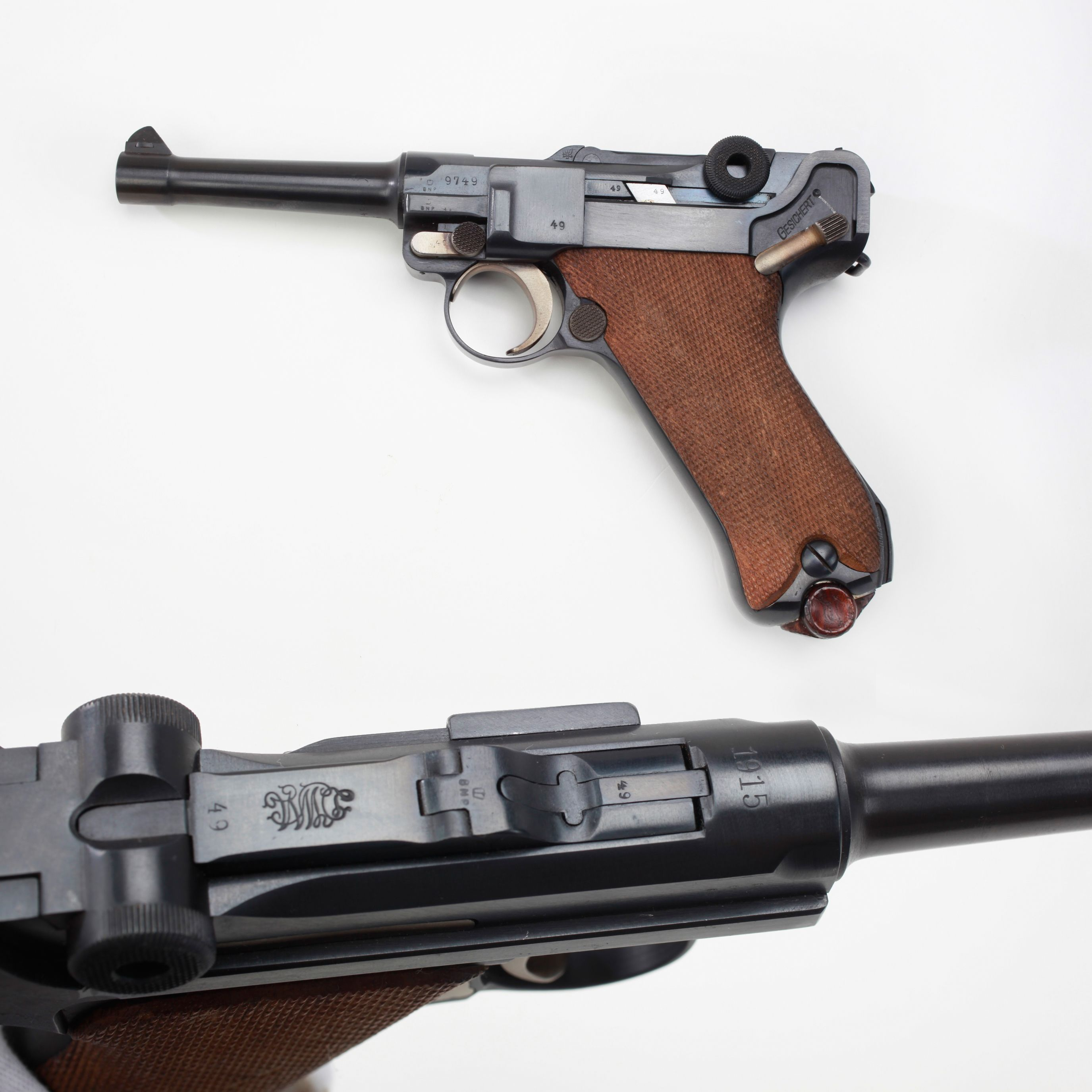 Luger Pistol with a Twist - This 1915-dated 9mm pistol at some point passed through the British ...