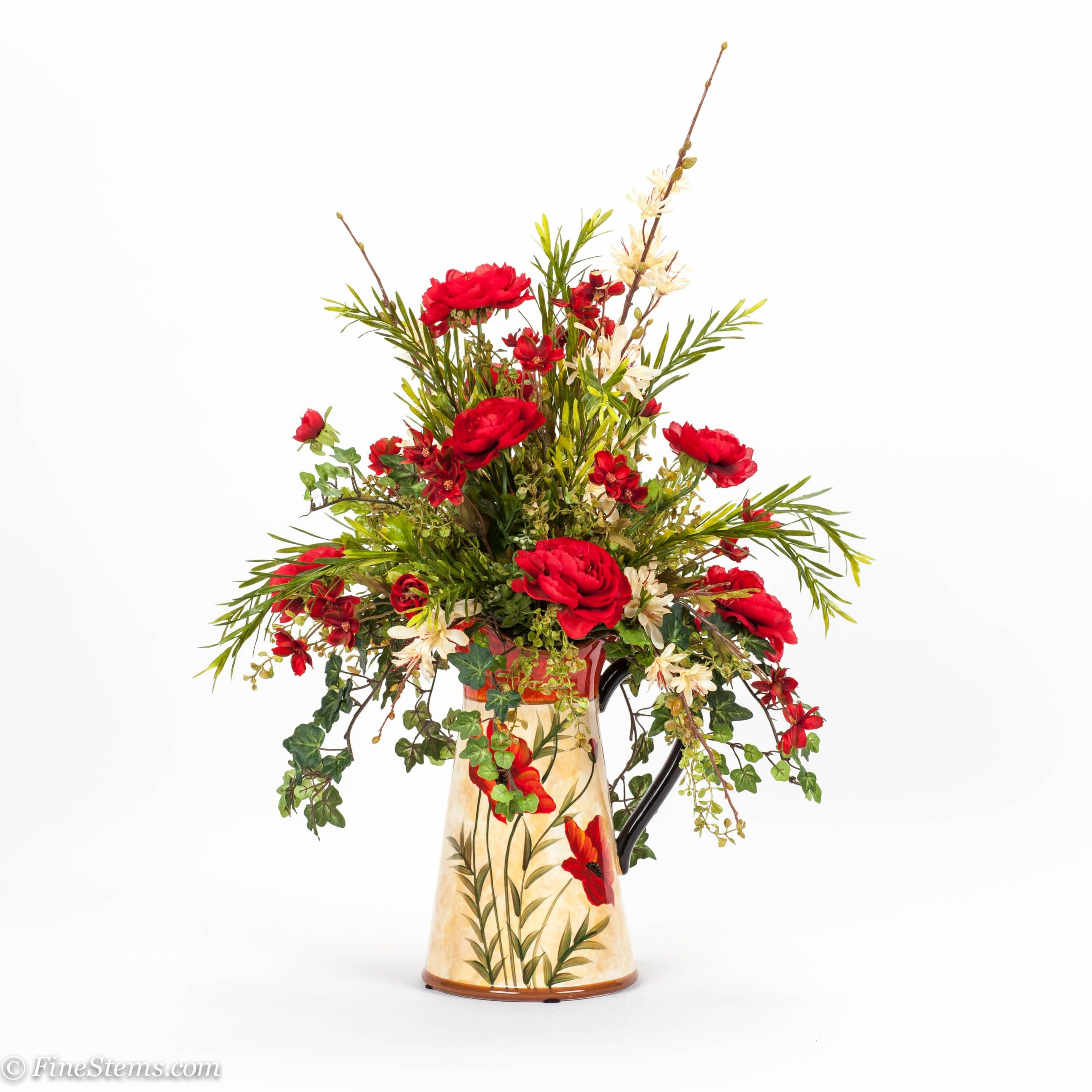 Red and cream silk floral arrangement placed in a poppy pitcher red and cream silk floral arrangement placed in a poppy pitcher silk floral arrangementsspring flower mightylinksfo