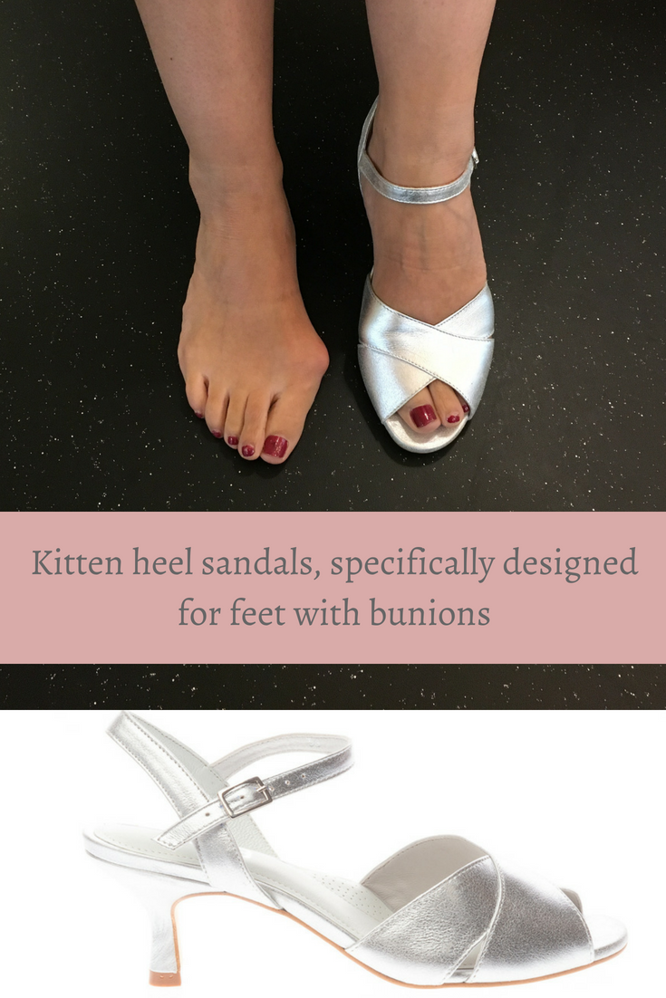 4f71a8d83099b Sandals for bunion sufferers! This fab kitten heel sandal in stylish silver  leather features foot-stabilising straps and is suitable for up to large  bunions ...
