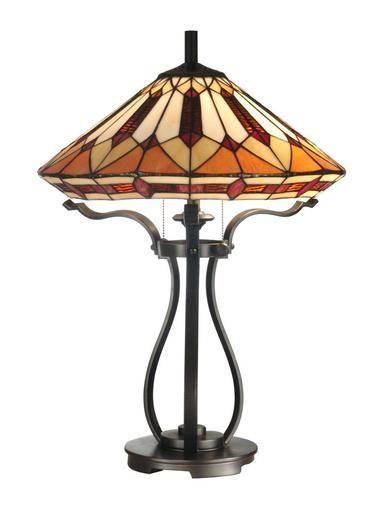 New Dale Tiffany 2 Light Table Lamp Brown Amber Geometric Glass Black Iron Lampak Olomuveg