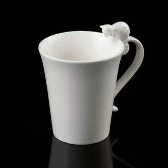 mug en porcelaine blanc d 9 x cm lot de 4 chat. Black Bedroom Furniture Sets. Home Design Ideas
