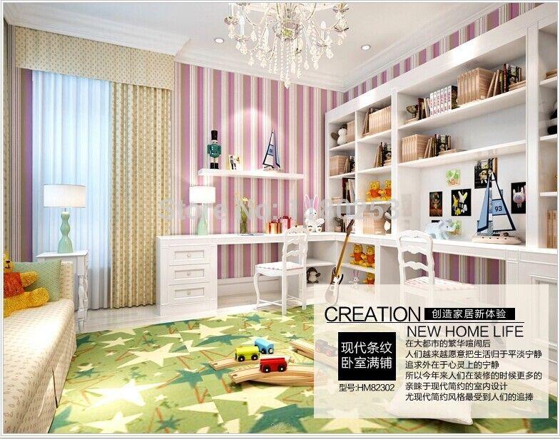 (Buy here: http://appdeal.ru/170c ) [SIA] purple Stripes decoration wallpaper decor for kids living room& bedding room&TV Background mural papel de parede 53*1000cm for just US $38.50