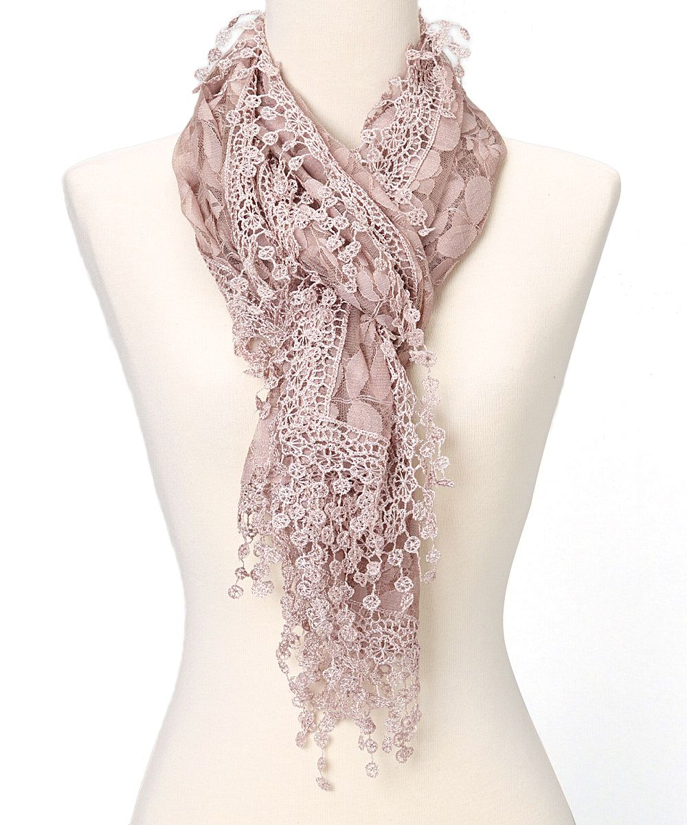 Pink Leaf Lace Crochet-Trim Scarf