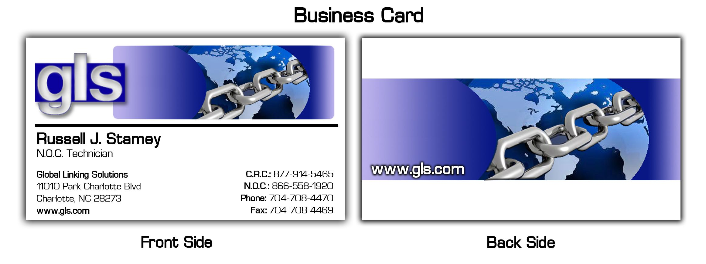 business card for global linking solutions
