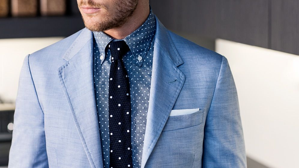 Blue polka dots.