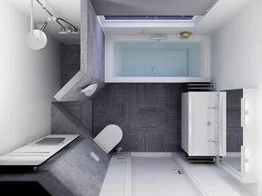 Modern badkamer ontwerp met grijs wit betegeling en inloopdouche