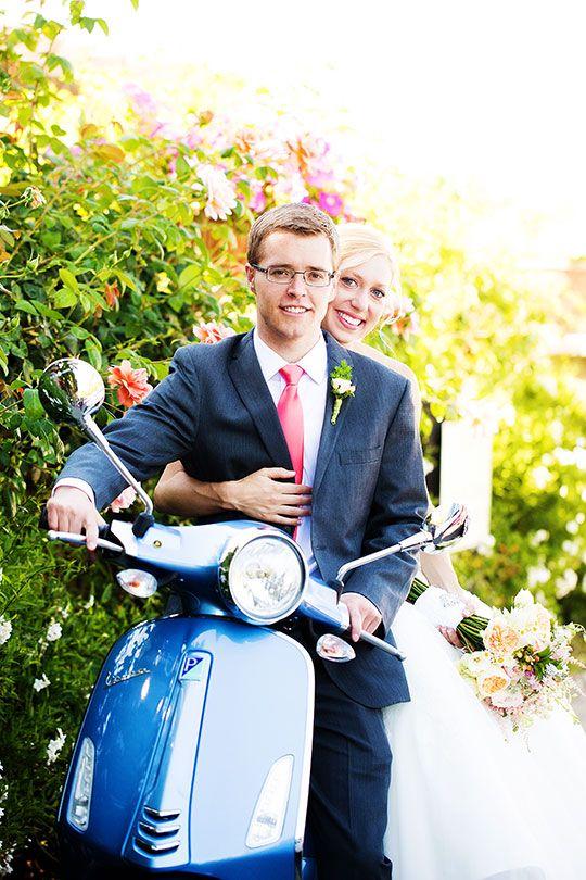 Caressa Rogers Photography via CeremonyBlog.com  www.caressarogers.com | Vespa | Wedding Getaway | Vineyard Wedding | California