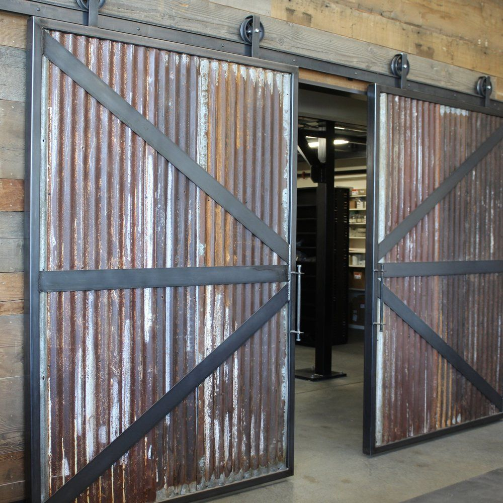 Sheppard S Reclaimed Corrugated Metal Barn Door Track Barn Door Garage Industrial Barn Door Exterior Barn Doors