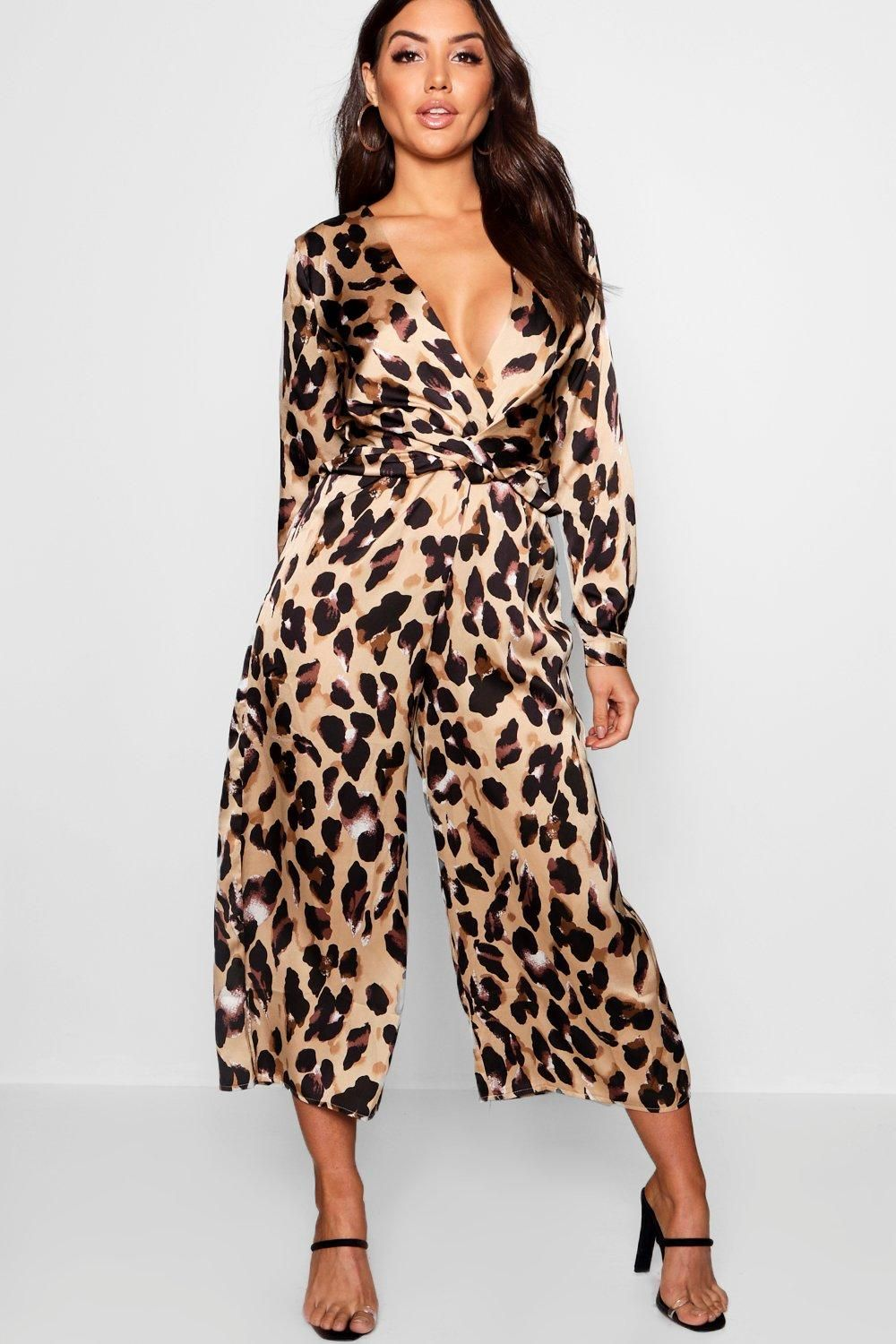 d4935f53420 Click here to find out about the Plunge Twist Leopard Print Satin Jumpsuit  from Boohoo, part of our latest Jumpsuits collection ready to shop online  today!