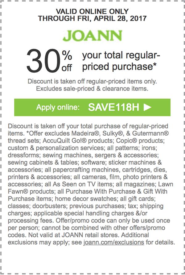 Joann's coupon • 30 off your total regularpriced