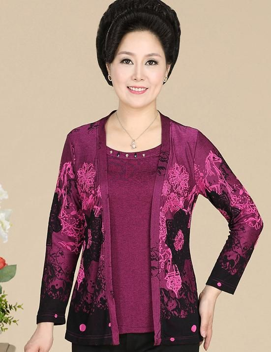 cool Knit tops Fall brand new middle-aged ladies mom gown Korean edition from the pattern associated with publishing phony 2 long-sleeved 122241