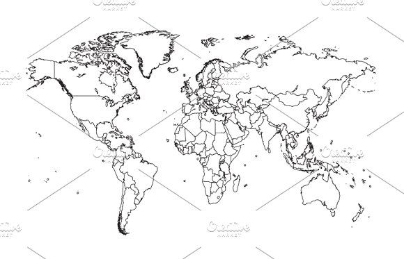 Blank World Map Best Photos Of Printable Maps Political With - new black and white world map with continents labeled